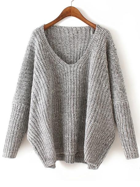 V Neck Chunky Knit Pale Grey Dolman Sweater