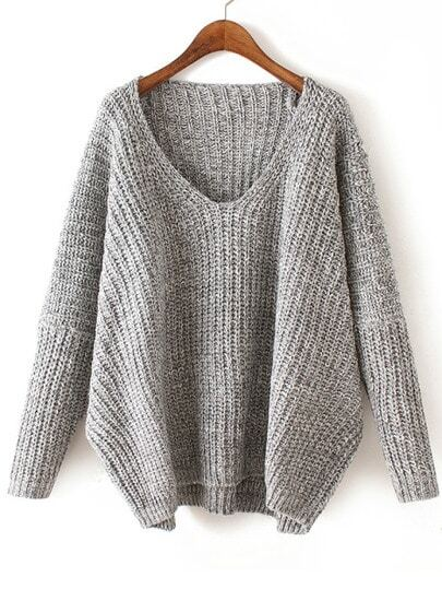 V Neck Chunky Knit Pale Grey Dolman Sweater