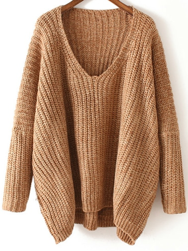 V Neck Chunky Knit Khaki Dolman Sweater -SheIn(Sheinside)