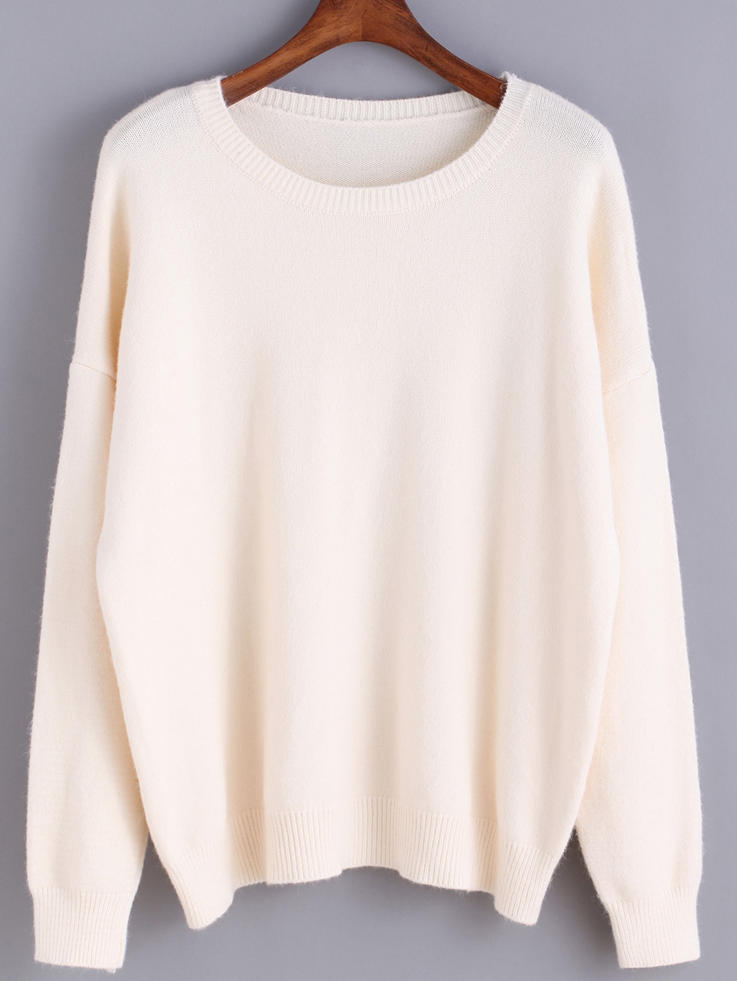 Round Neck Knit Beige Sweater -SheIn(Sheinside)