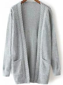 Open-Knit Pockets Grey Cardigan
