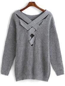 Crisscross-Back Hollow Sweater