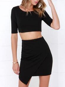 Half Sleeve Zipper Crop Top With Wraped Black Skirt Suits