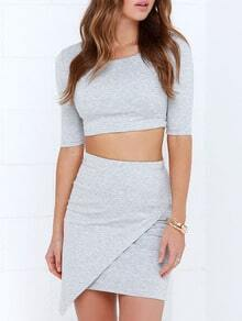 Half Sleeve Zipper Crop Top With Wraped Grey Skirt Suits