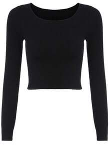 Long Sleeve Crop Black T-shirt