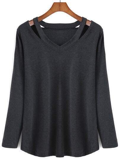 V Neck Long Sleeve Hollow Black T-shirt