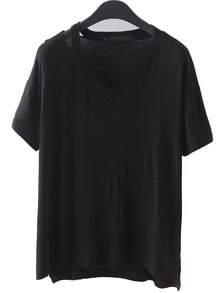 V Neck Dip Hem Hollow Black T-shirt