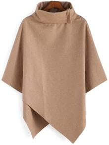 Turtleneck Woolen Asymmetrical Cape Khaki Coat