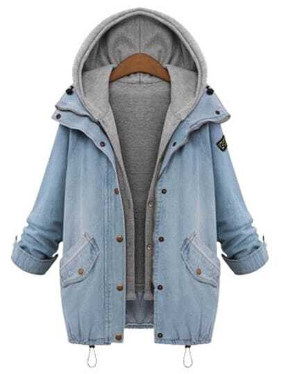 Hooded Drawstring Boyfriend Trends Jean Swish Pockets Coat pictures