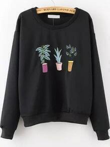 Plant Embroidered Patterned Black Sweatshirt