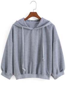 Hooded Drawstring Loose Sweatshirt ROMWE