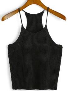 Spaghetti Strap Knit Black Cami Top