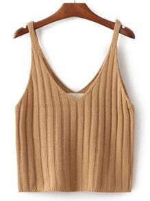 V Neck Knit Khaki Cami Top
