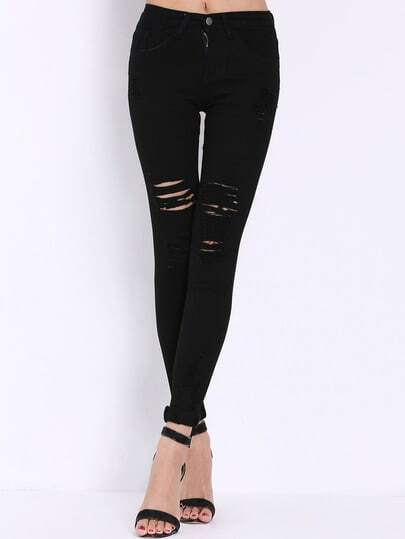 High Waist Distress Pant