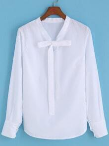 Self-tie Bow White Blouse