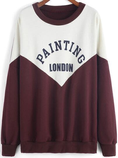 Colour-block Round Neck Letters Print Sweatshirt