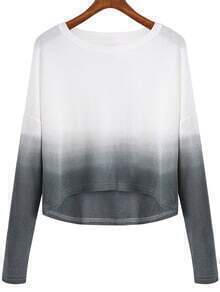 Grey White Ombre Round Neck Crop Knitwear