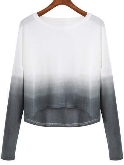 Pull court col rond -gris blanc