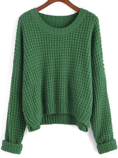 Green Round Neck Knit Crop Sweater