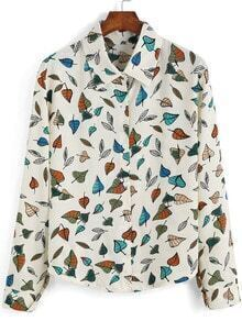 Multicolor Lapel Leaves Print Loose Blouse
