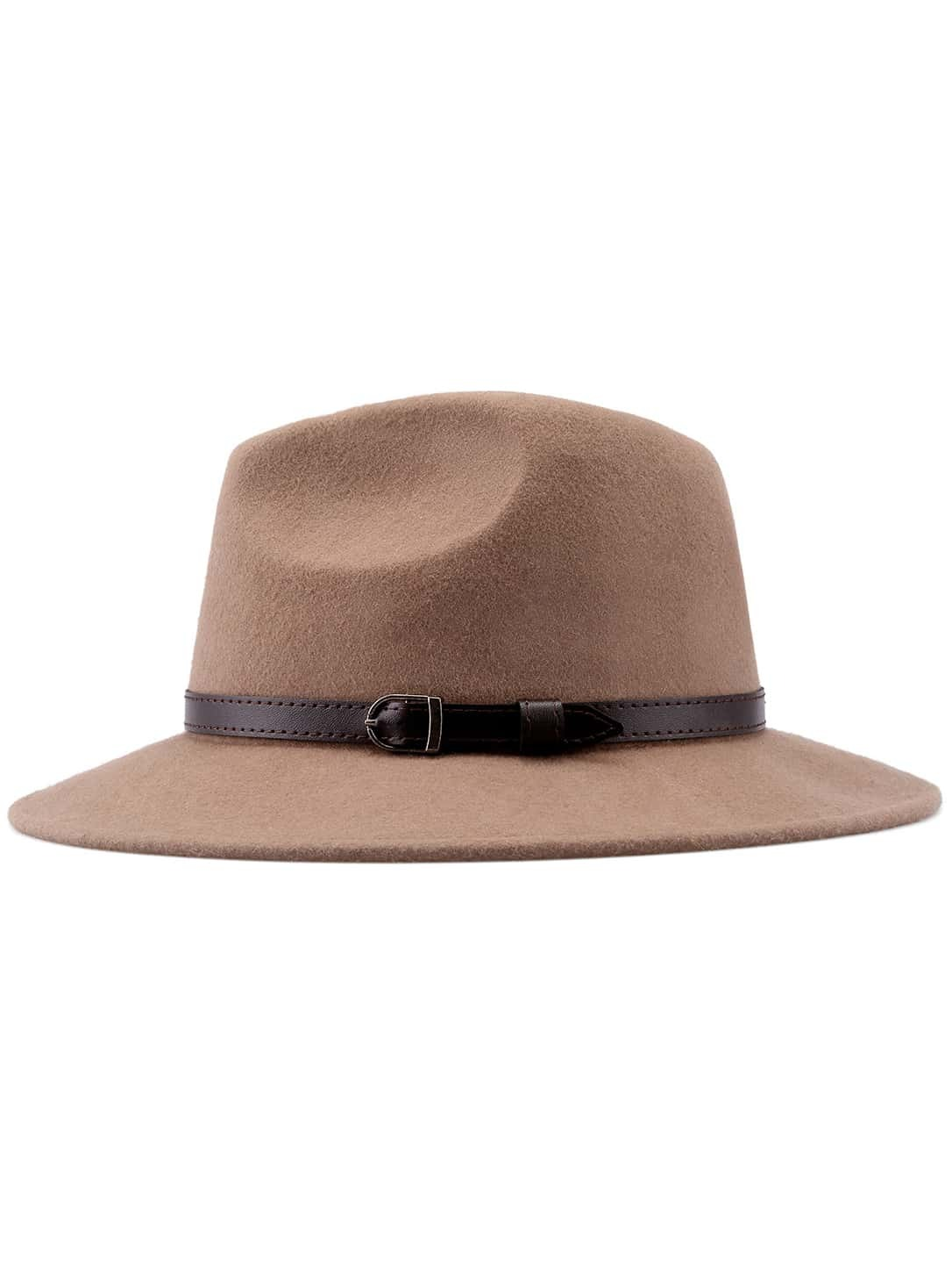 Khaki Buckle Strap Embellished Hat