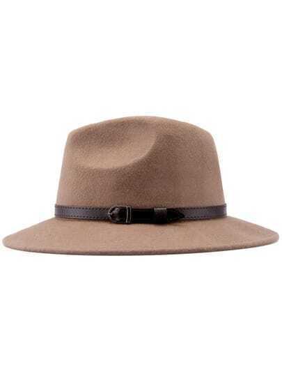 Khaki Buckle Strap Embellished Hat