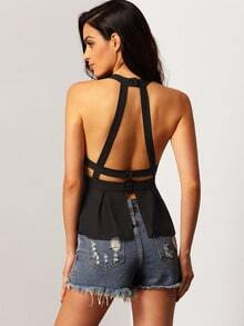 Halter Open Back Peplum Hem Top