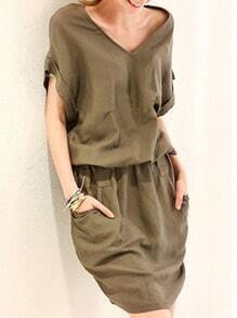 V Neck With Pockets Shift Dress