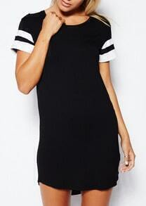 Contrast Raglan Sleeve Round Neck Dress