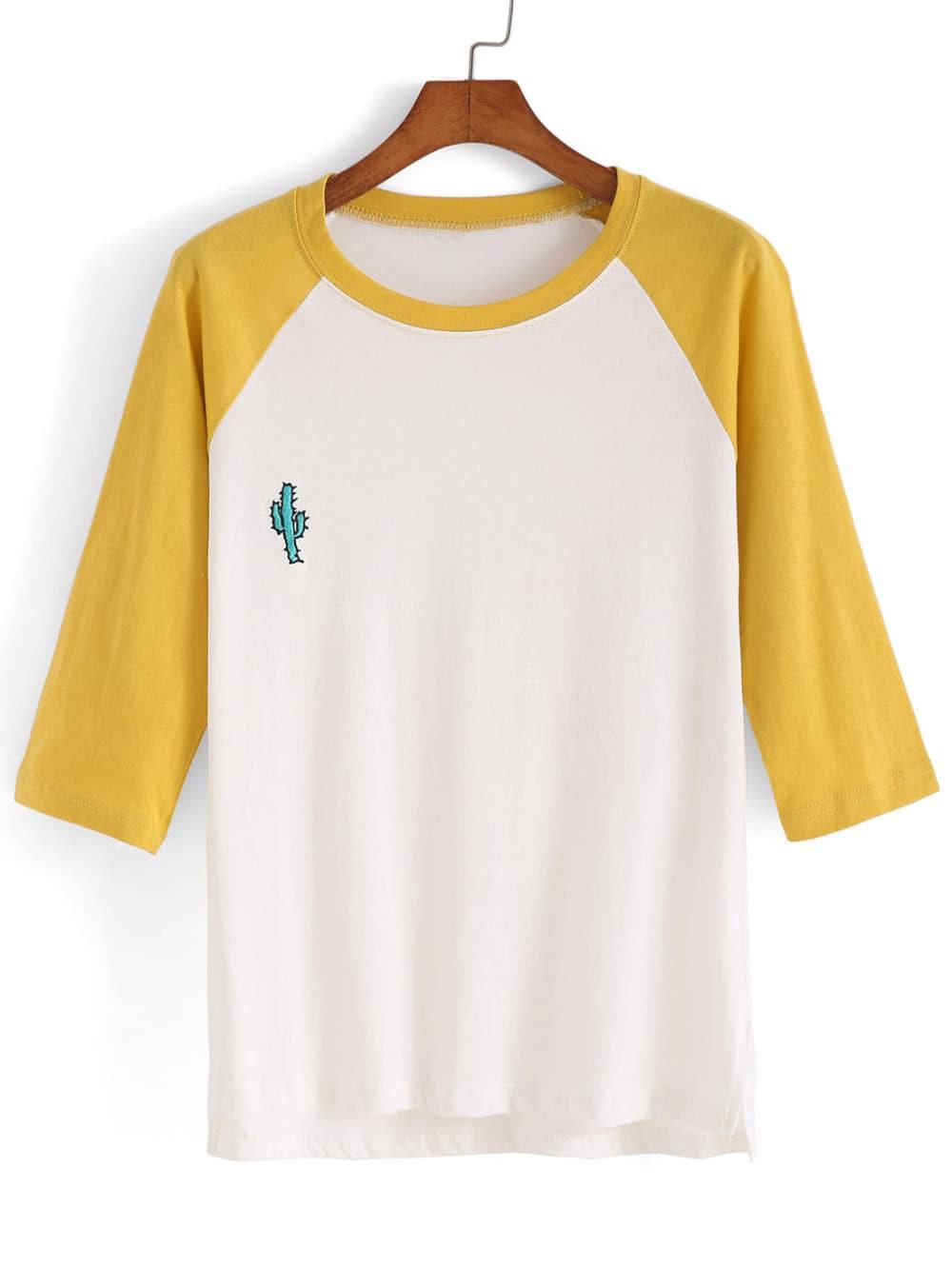 Dip Hem Color-block Embroidered T-shirtDip Hem Color-block Embroidered T-shirt<br><br>color: Multi<br>size: one-size