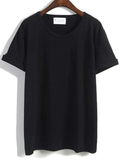 Cuffed Loose Black T-shirt
