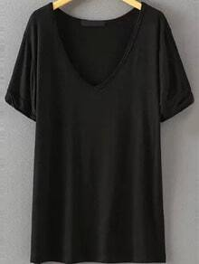 V Neck Loose Black T-shirt