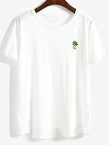 Pineapple Embroidered Loose T-shirt