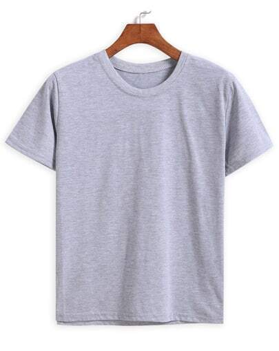 Round Neck Loose Grey T-shirt