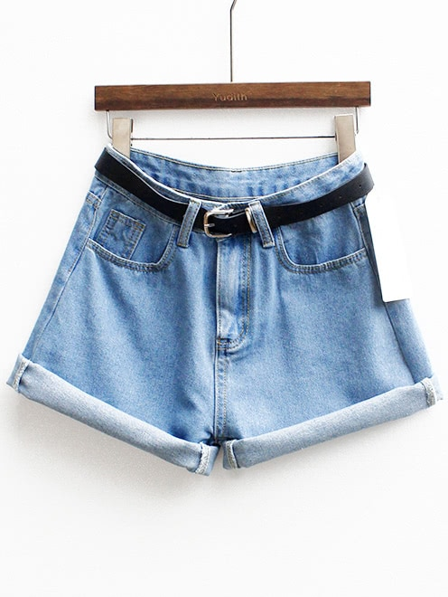 Cuffed Denim Shorts With Belt -SheIn(Sheinside)