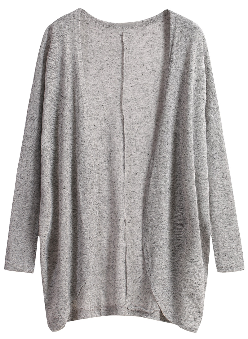 Long Sleeve Loose Grey Cardigan -SheIn(Sheinside)