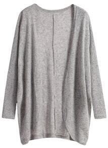 Long Sleeve Loose Grey Cardigan