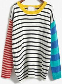 Colour-block Striped Loose Sweater