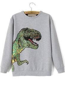 sudadera dinosaurio relax fit-gris