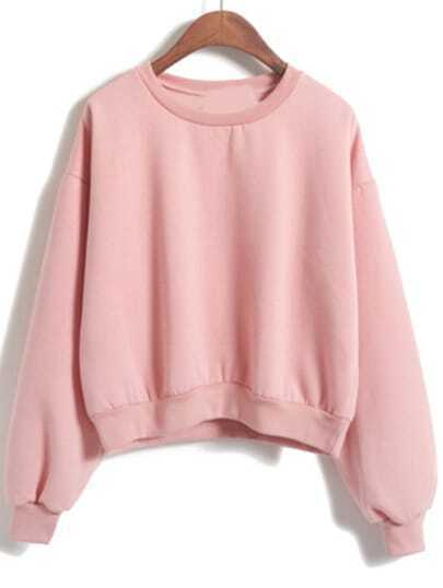 Round Neck Crop Loose Pink Sweatshirt