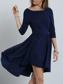 Navy Backless Pleated Dress