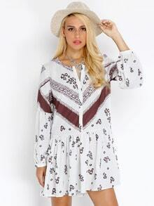 White Challis Long Sleeve Vintage Print Dress