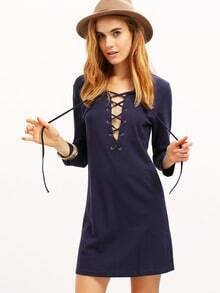 Navy Round Neck Lace Up Dress