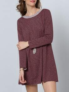Dark Sienna Long Sleeve Backless Casual Dress