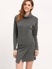 Grey Fairisle Charcoal Knittet High Neck Bodycon Dress
