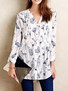 White V Neck Animals Print Blouse