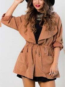 Orange Hooded Lapel Drawstring Coat