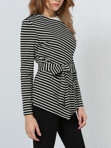 Black White Long Sleeve Striped Coat