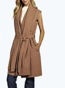 Camel Sleeveless Lapel Coat
