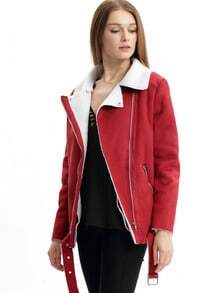 Wine Red Long Sleeve Lapel Quilted Zipper Coat